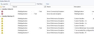 Figure 10. Alert view APM ASP.NET Web Application Component.