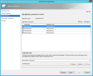 Figure 5. What to Monitor window, APM configuration wizard.