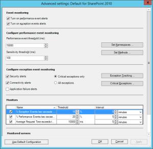 Figure 7. Advanced settings Configuration window, APM configuration wizard.
