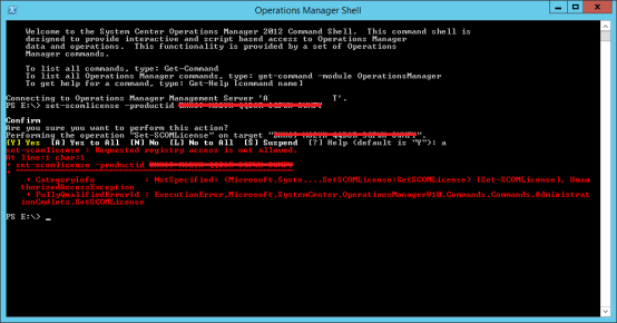 SCOM PowerShell Licensekey error