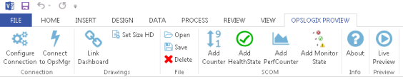 Figure 11. The ProView tab in the ribbon in Microsoft Visio