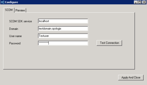 Figure 12. Configure the connection between ProView and Operations Manager