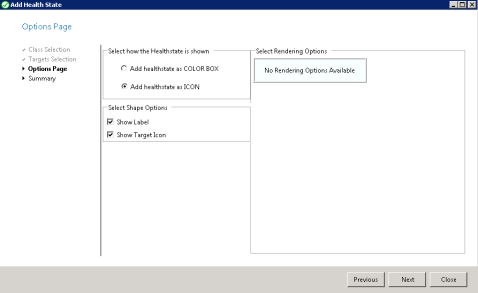 Figure 20. Options Page, Select how the health state is shown