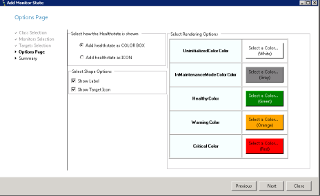 Figure 29. Options Page, Select how the health state is shown