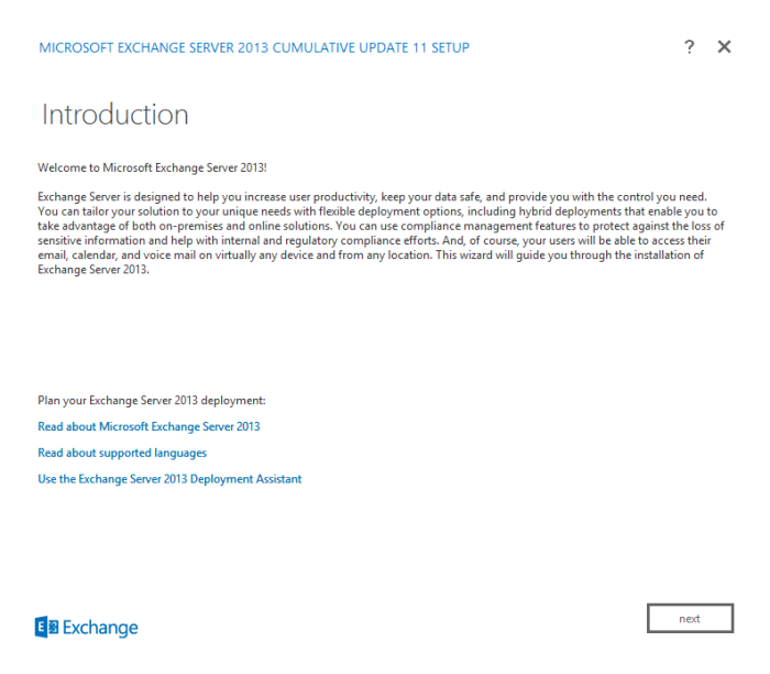 Figure 10. Introduction screen of the Microsoft Exchange Server 2013