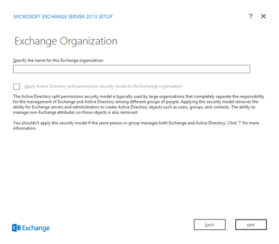 Figure 15. Exchange Organization name screen