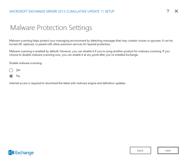 Figure 16. Select the use of malware scanning