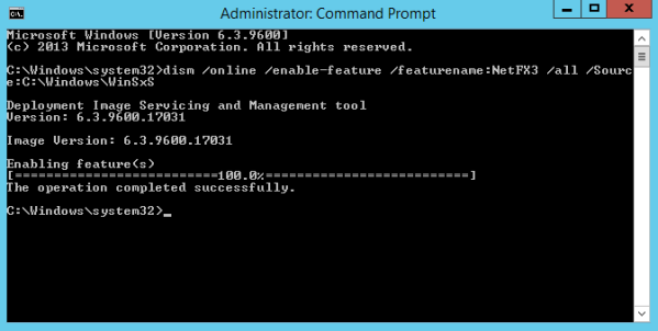 Figure 2. Installing .Net Framework 3.5 in an elevated command prompt