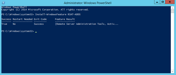 Figure 3. Installing Remote Server Administration Tools with PowerShell