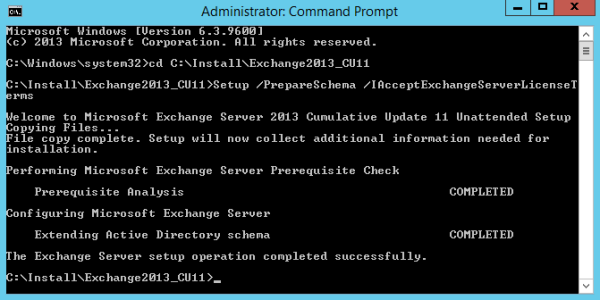 Figure 4. Output from the prepare schema command