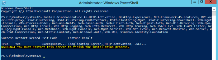 Figure 6. Output from the install Windows features command in PowerShell