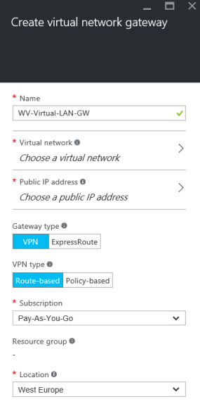 Create a virtual network gateway