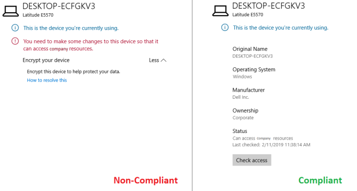 Figure 1. Message when accessing data on a Non-Compliant Windows 10 device left and on a compliant Windows 10 device right